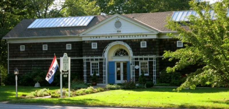 Exterior shot of Lyme Art Association headquarters, Old Lyme, CT