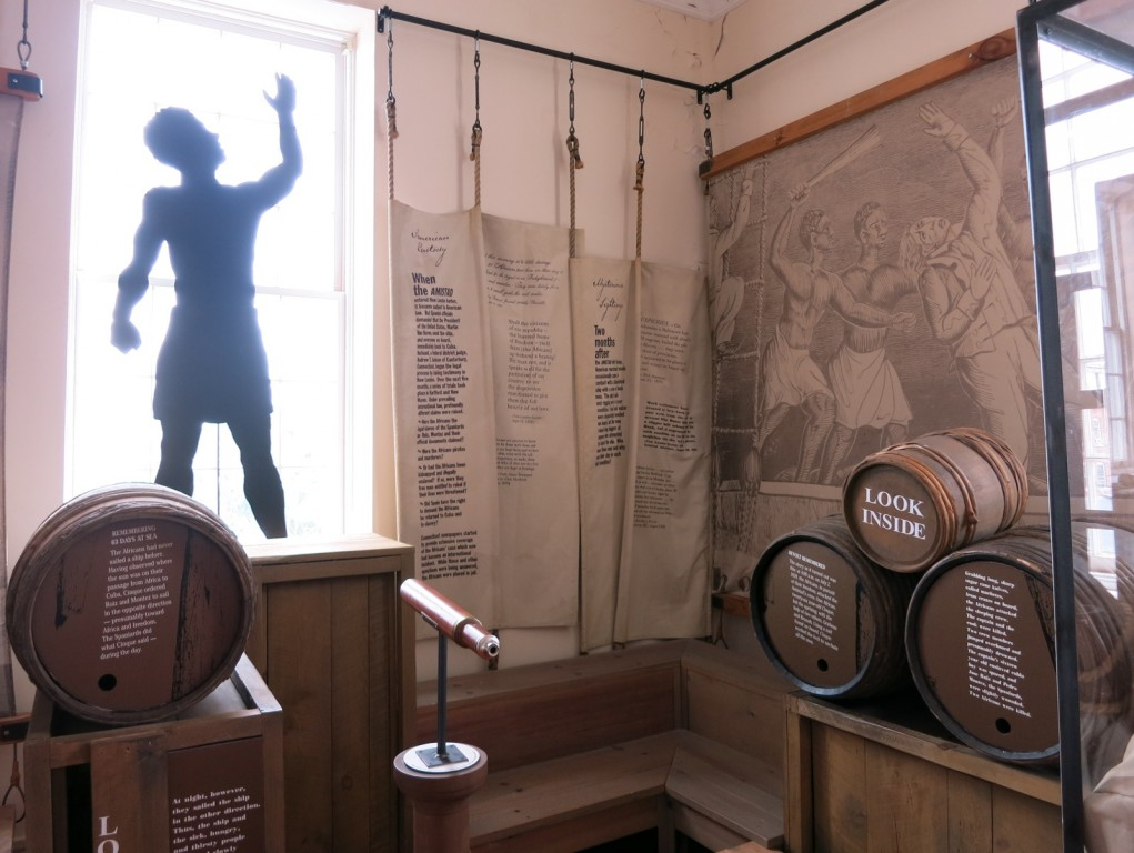 Timeline of Exhibit Amistad in Customs House where the ship was towed to in 1839