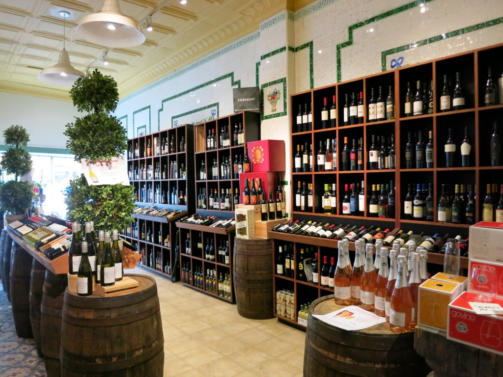 Selection of eclectic wines from small vineyards around the world in a sophisticated shop in New London, CT