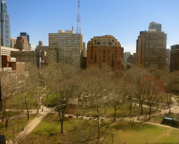 View of Rittenhouse Square from Rittenhouse Hotel room, Philadelphia PA