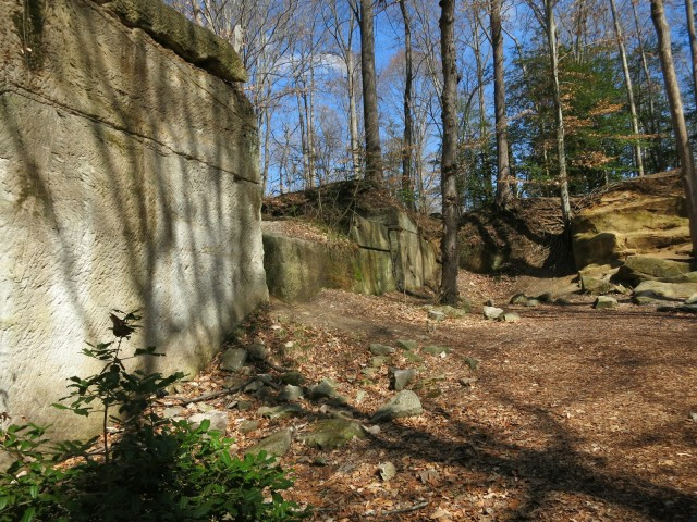 Pick-ax and chisel marks on stone at Government Island Rock Quarry , Virginia