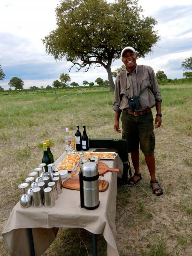 Guide Sam at Sundowner, Linkwasha Camp, Zimbabwe