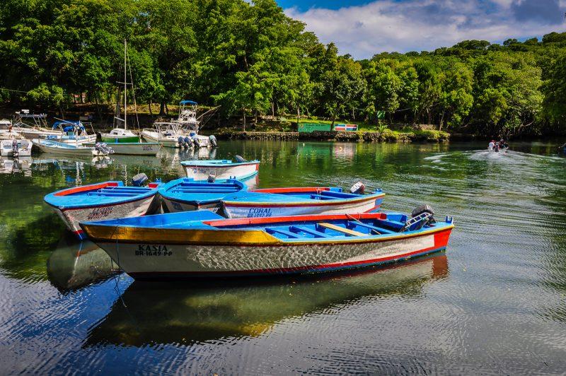 Boats in the mangrove in Rio San Juan.