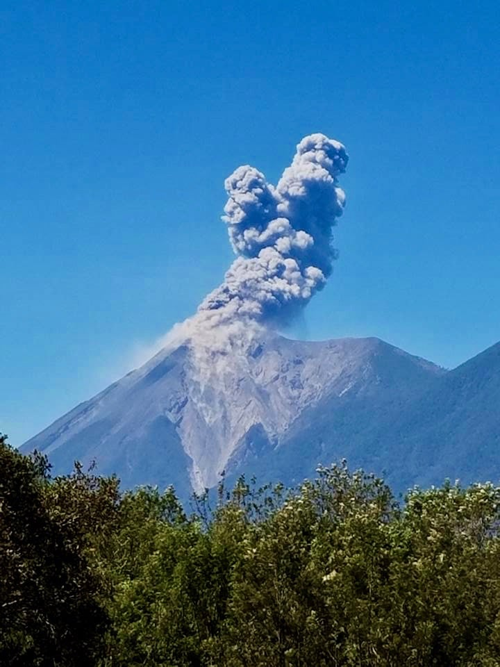 Active volcano, Fuego, erupting near Antigua Guatemala
