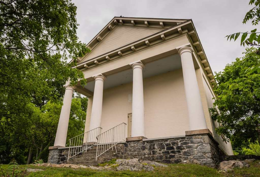 Chapel Restoration of 1833 Greek Revival national landmark building in Cold Spring, NY.