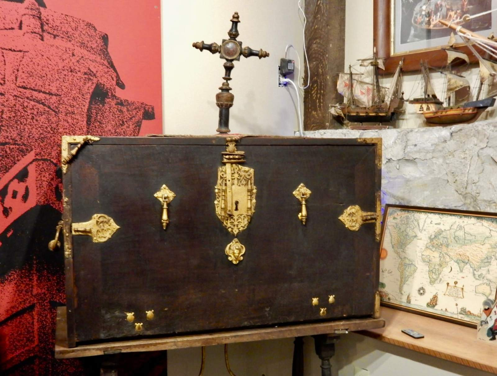 Travel Desk and Land-Claim Cross owned by Christopher Columbus, Boal Mansion Boalsburg PA
