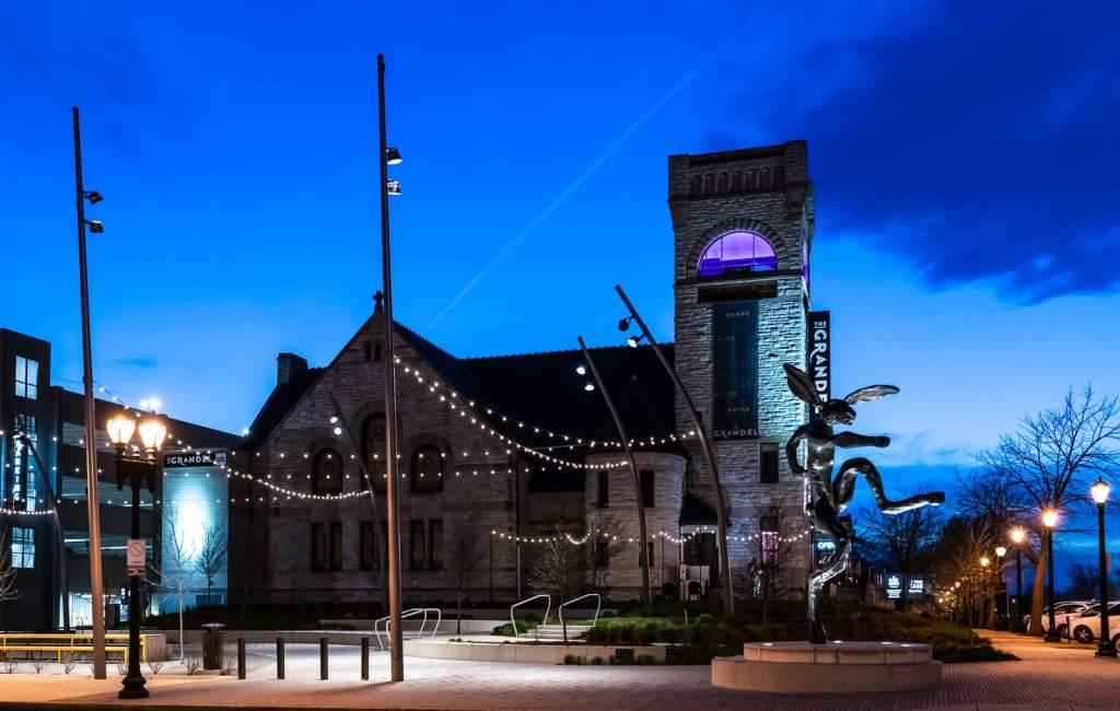 Exterior lights surround the Dark Room at Grandel wine bar bistro in St. Louis MO.