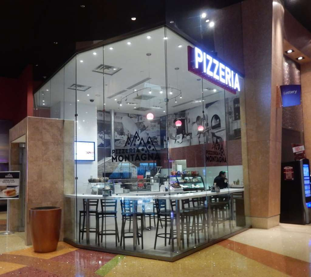 Glass enclosed pizzeria at Mount Airy Casino