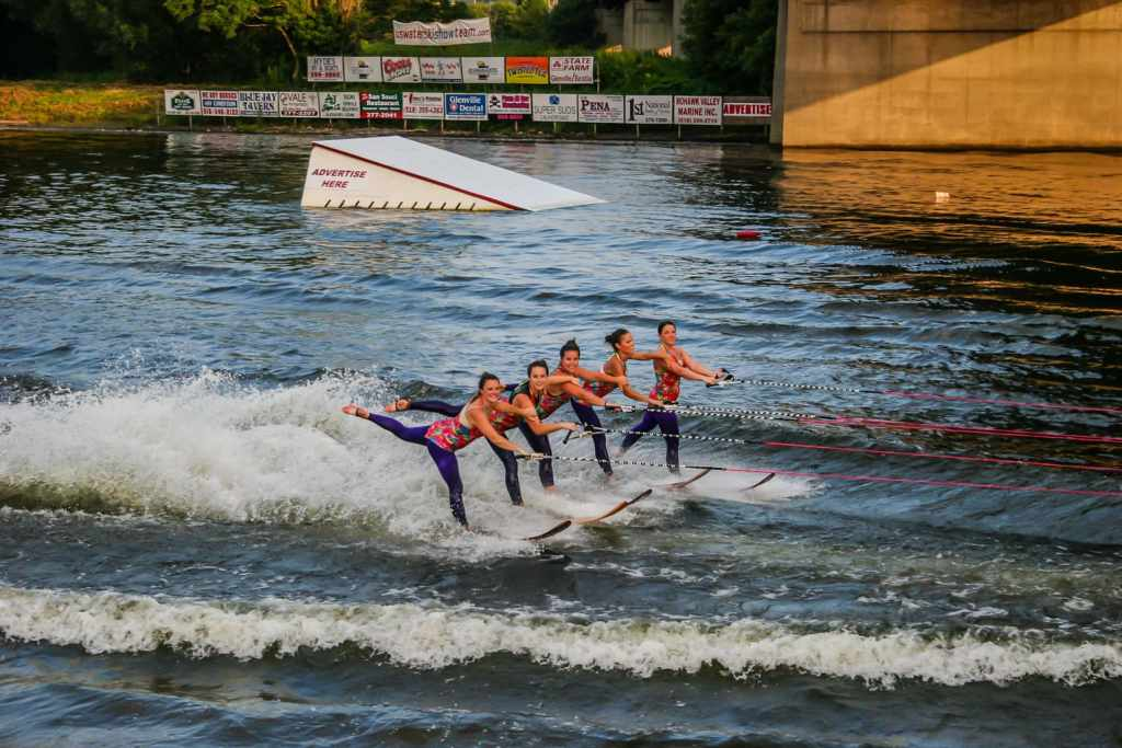 U.S. Water Ski Show Team performing on the Mohawk River