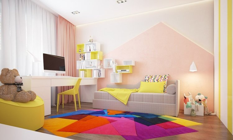Staggering rugs for children's rooms #kidsbedroomideas #kidsroomideas #littlegirlsbedroom