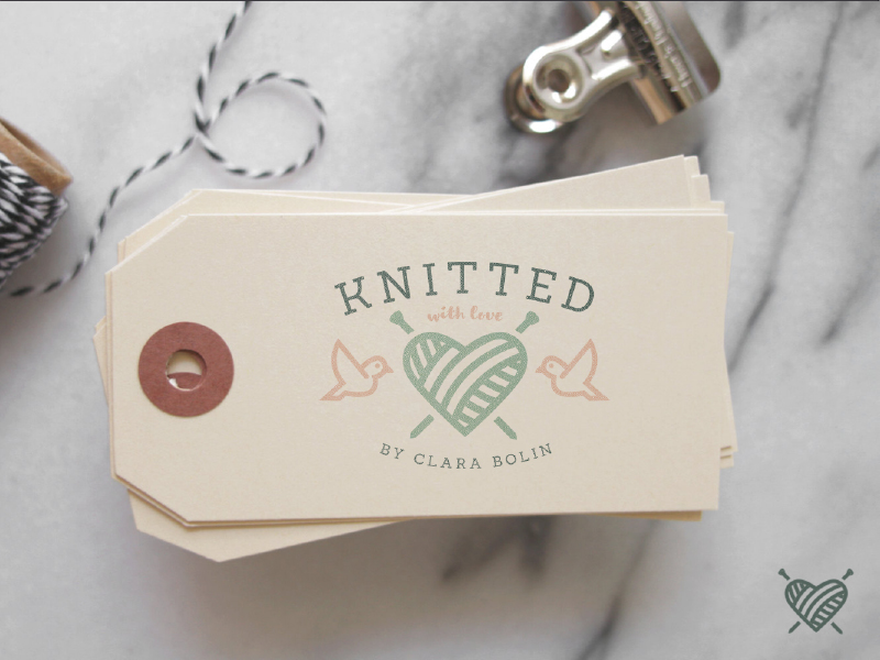 Knitted with love logo business cards