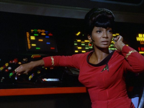 Uhura on the bridge in Star Trek