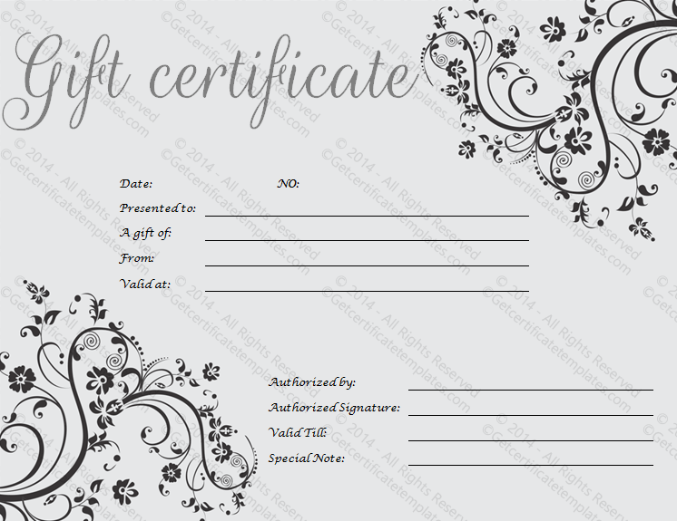 Fillable Gift Certificate Template free certificate of completion – Fillable Gift Certificate Template
