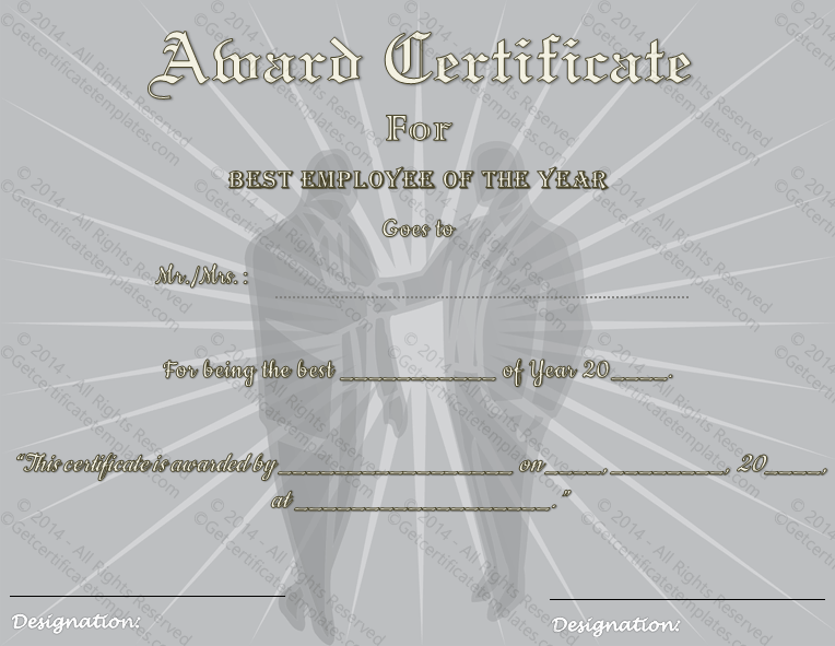 Best Employee Of The Year Award Certificate Template
