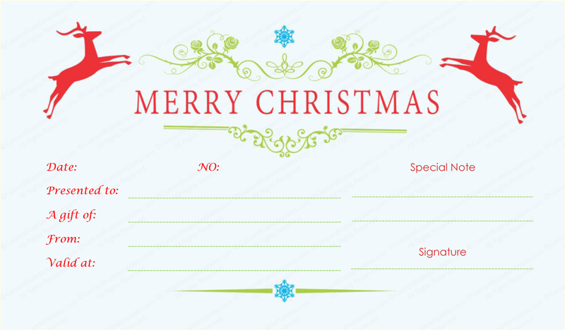 certificate template vintage christmas gift certificate template – Christmas Gift Vouchers Templates