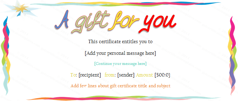 Templates For Gift Certificates free gift certificate template – This Certificate Entitles You to Template