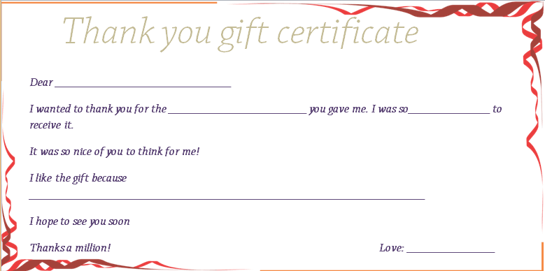 Red Ribbons Thank You Gift Certificate Template