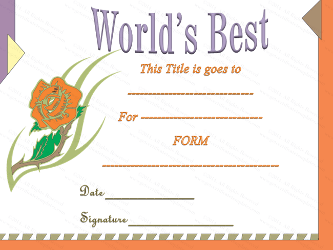 Best Certificate Templates award certificate for best work – Best Certificate Templates