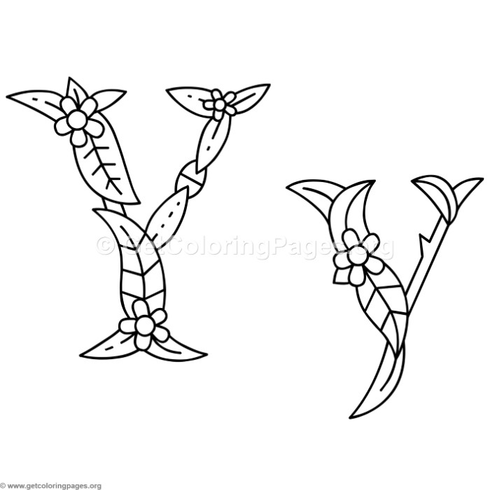 Flower Island Alphabet Letter Y Coloring Pages