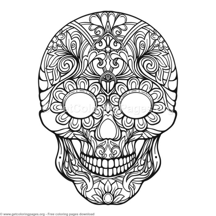 2 Zentangle Sugar Skull Coloring Pages