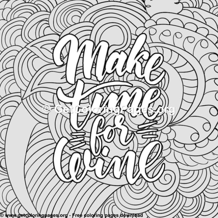 Funny Quotes Make Time For Wine Coloring Pages