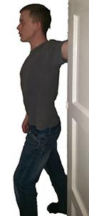 Leaning into doorway