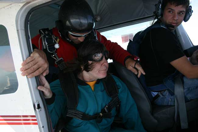 Image of Darian about to jump out of airplane