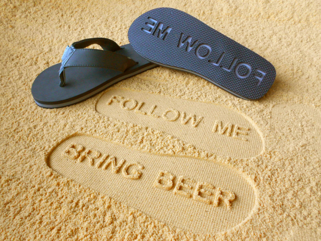 """Attract the Right Crowd with """"Follow Me Bring Beer"""" Sandals"""
