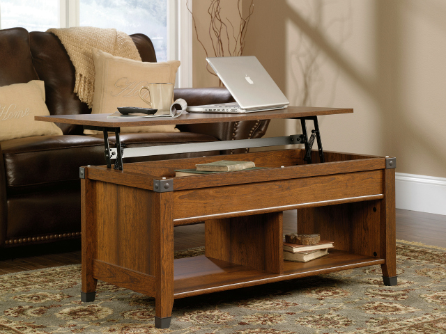 Sauder Carson Forge Lift Top Coffee Table Turns Your Living Room Into An  Office