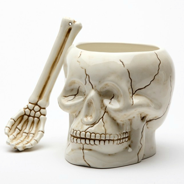 Ceramic Skull Bowl with Bone Spoon