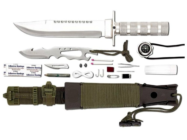 Maxam 12pc Survival Knife has a few Tricks up its Sheath