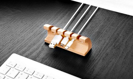 Wooden Cable Organizer Keeps your Desk Clear of Clutter