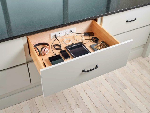 Docking Drawer Hides your Charging Cables Clutter