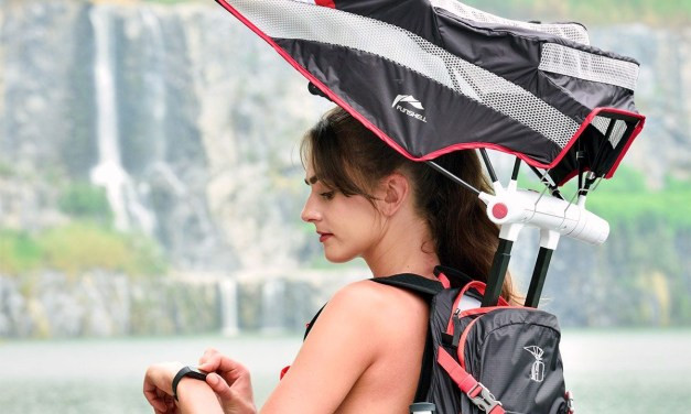 Hiking Backpack Umbrella Provides Handsfree Protection from Sun and Rain