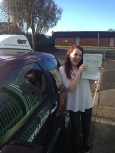 After driving lessons Bury, Amy passes her driving test first time