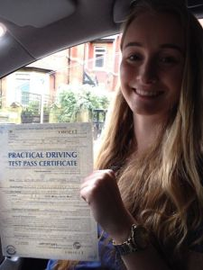 Kathleen Mottram pictured after passing her driving test in Cheetham Hill