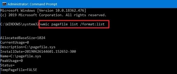 Увеличение размера виртуальной памяти в Windows 10 cmd метод