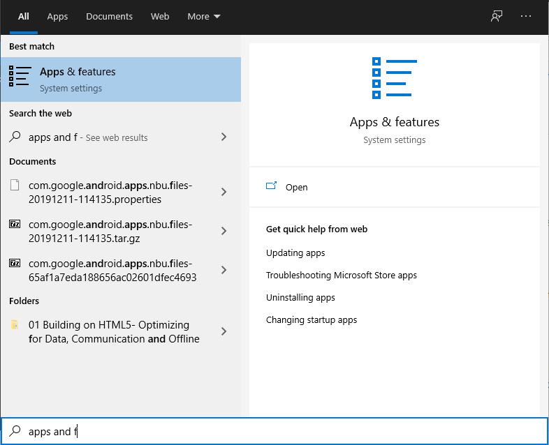 Поиск приложений и функций в Windows