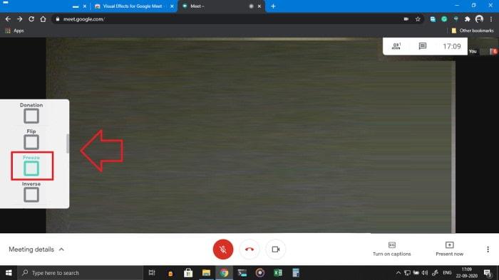 Есть ли в Google Meet возможность заморозить или приостановить камеру?