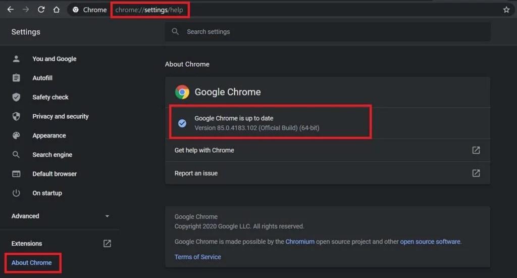 Обновите браузер Chrome