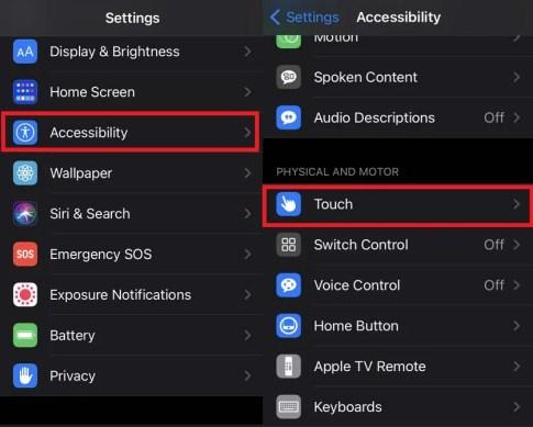 Yardımcı dokunuşu etkinleştirmek için iPhone Erişilebilirlik Ayarları