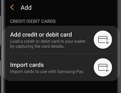 добавить дебетовую кредитную карту
