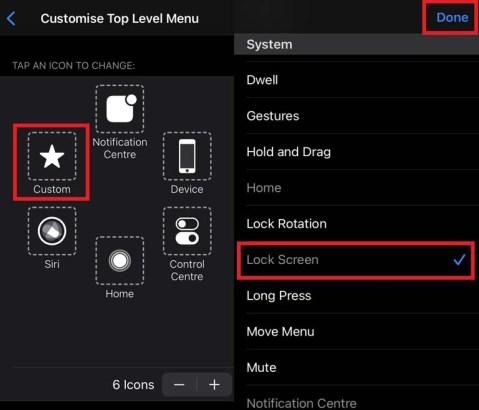 Yardımcı dokunmatik iPhone, üst düzey menüyü özelleştirin