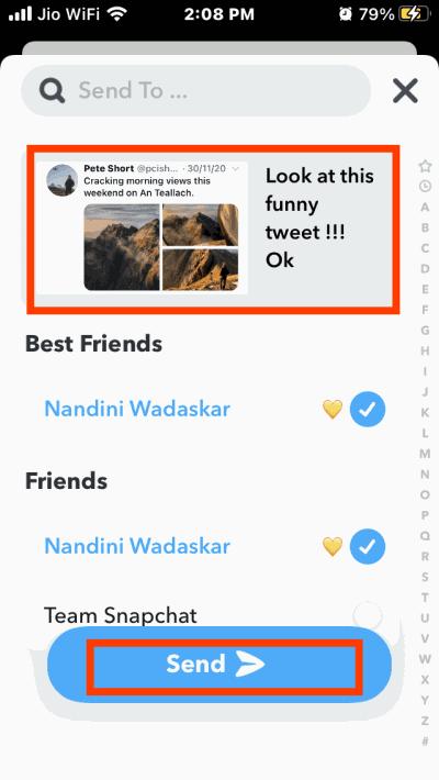 Как поделиться твитами в Snapchat на iPhone и Android