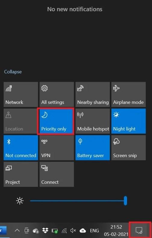 отключить уведомления в Windows 10 с помощью Focus Assist