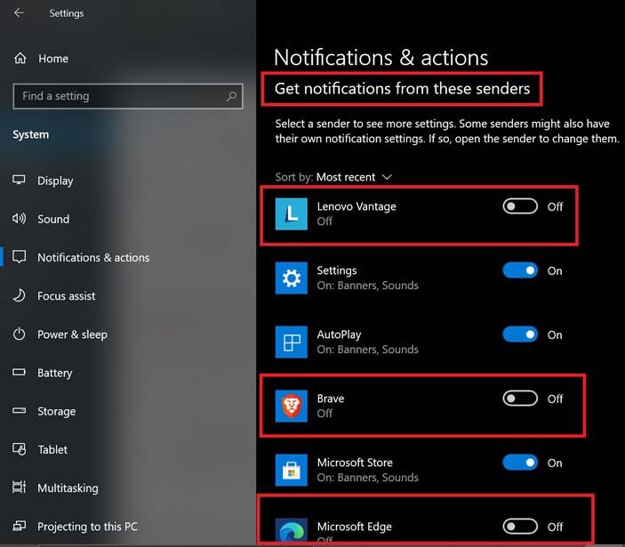 отключите уведомления от отдельных приложений на вашем ПК с Windows 10
