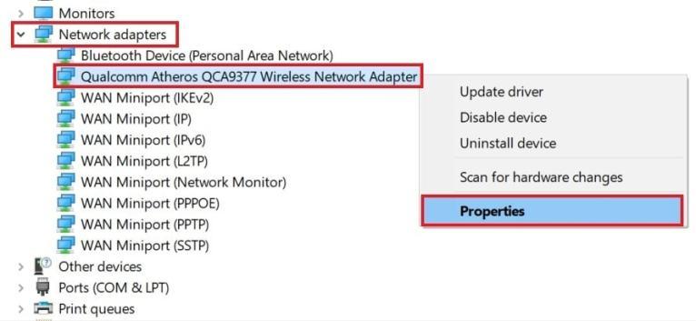 Свойства сетевого адаптера Windows