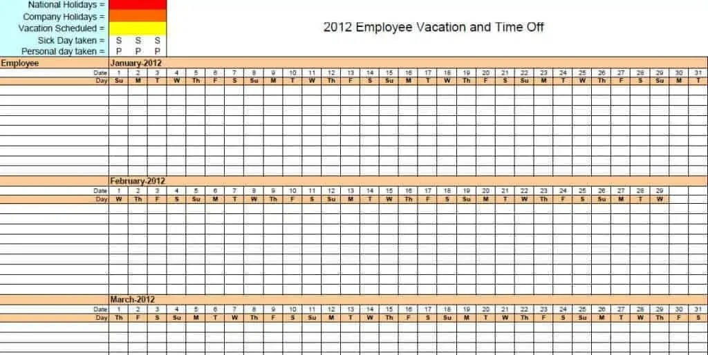 employee vacation planner template excel opucuk kiessling co