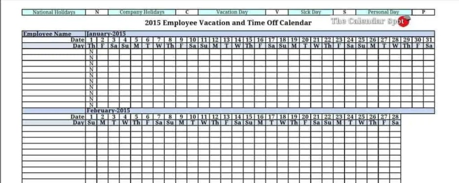 microsoft excel templates 9 employee vacation tracker excel templates