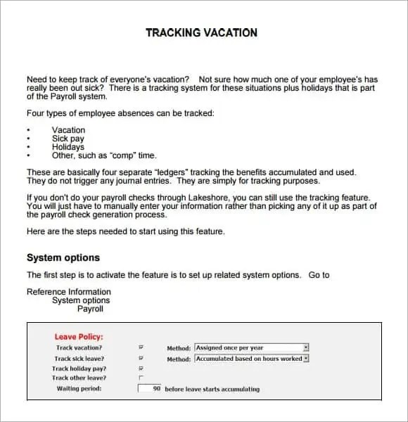 how to create a vacation tracker in excel